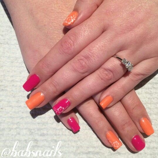 IG @babsnails Pink and Orange with flower water decals