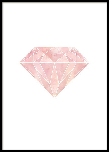 Graphical poster with a pink geometric diamond on white background. Stylish and contemporary print that goes well with our other graphical posters and geometric prints. www.desenio.com