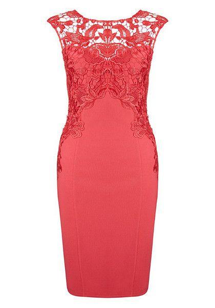 Red Crochet Sheath Dress
