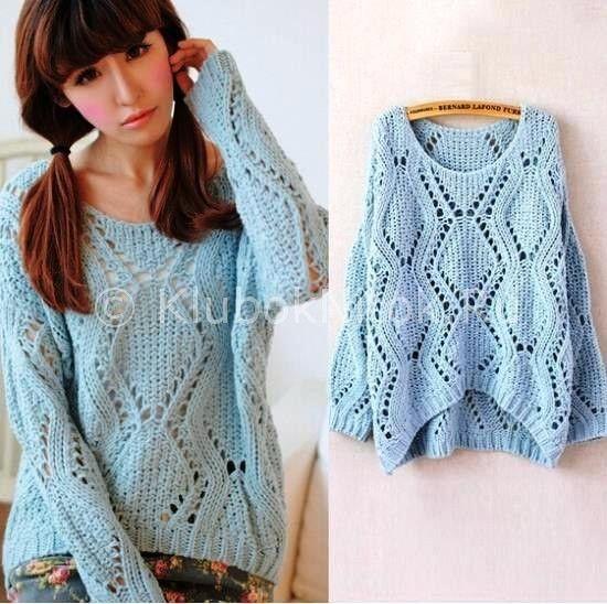 Пуловер с ромбами   Вязание для женщин   Вязание спицами и крючком. Схемы вязания.