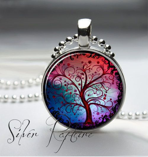 Whimsical Tree of Life Jewelry Art Glass Pendant by SilverRapture, $5.95