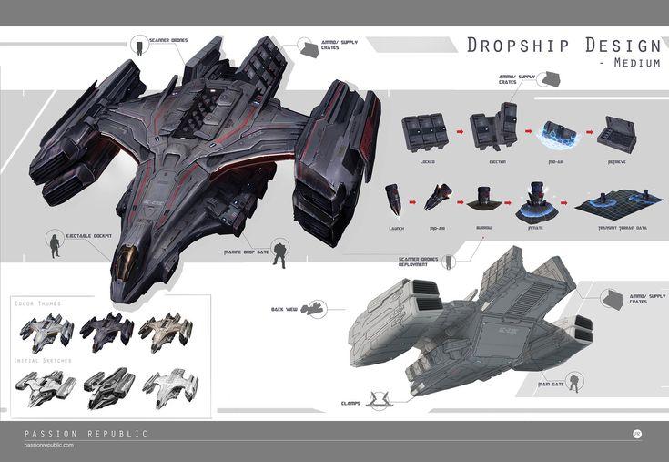 Dropships exploration, Johnson Ting on ArtStation at https://www.artstation.com/artwork/dropships-exploration