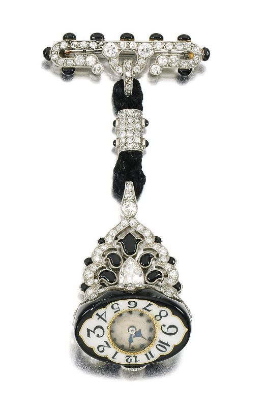 Enamel and diamond watch, Agassis, circa 1925  The circular dial applied with blued steel hands and Arabic numerals, suspended from a mount set with millegrain-set black enamel, circular-, single-cut, pear-shaped, and rose diamonds, French assay marks, indistinct maker's marks, movement signed Agassis.