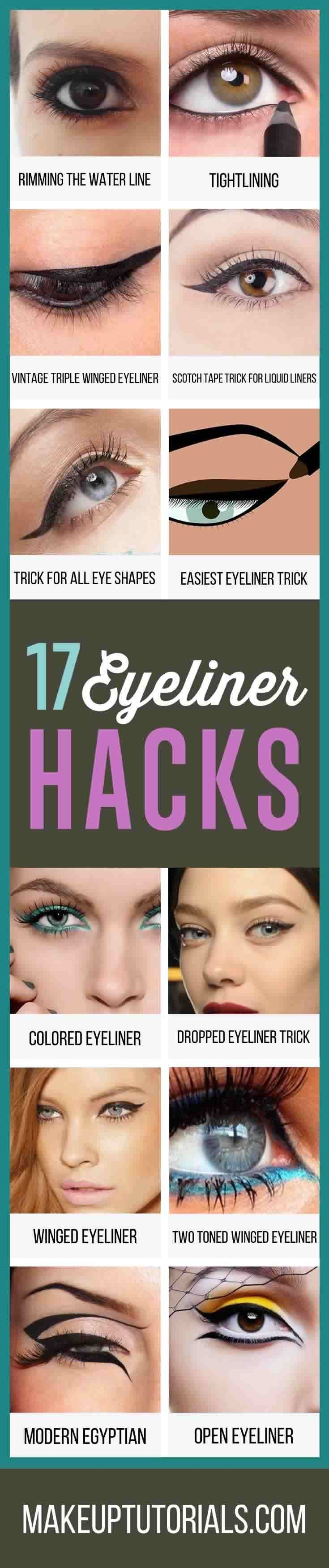 How To Do Really Awesome Eyeliner Hacks | Cool DIY Tips For Doing Perfect Winged Tip Eyeliner By Makeup Tutorials. http://makeuptutorials.com/makeup-tutorials-17-great-eyeliner-hacks/