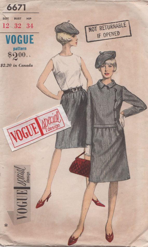 Vogue 6671 1960s Misses Skirt  Blouse Jacket and Beret sewing pattern by mbchills