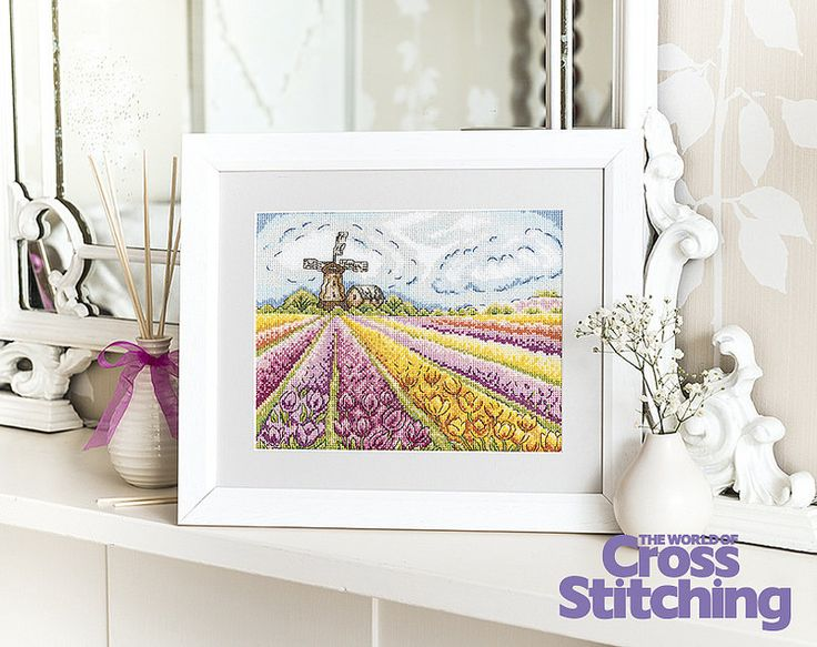 Field of dreams - tulips cross stitch. With rows of beautiful flowers and blue sky ahead, this uplifting scene is full of the joys of spring! Find the pattern only in issue of The World of Cross Stitching magazine, issue 226