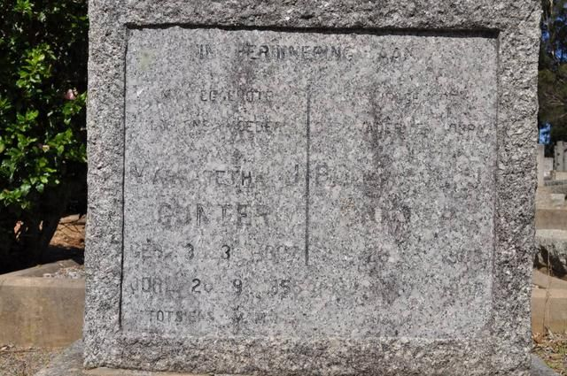 GUNTER P C J 1908 -1986. & Margaretha 1907-1955