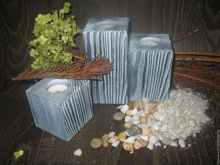 """Купить """"Серебро""""- Деревянные подсвечники - чёрно-белый, подарок на любой случай, подарок на день рождения"""