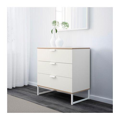 TRYSIL Chest of 3 drawers, white, light grey white/light grey 75x77 cm