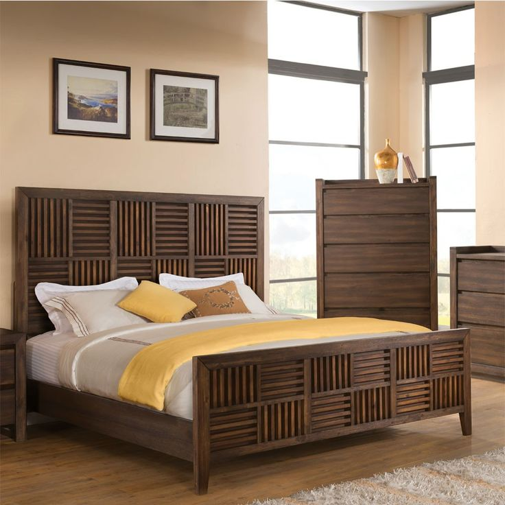 riverside modern gatherings wood parquet bed in brushed acacia by humble abode style