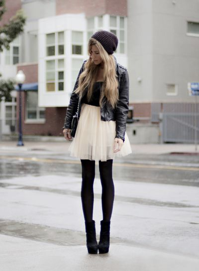 ballerina skirt with opaque tights, a fitted jacket and booties. Top it off with a cozy knit hat so you'll stay both stylish and warm.