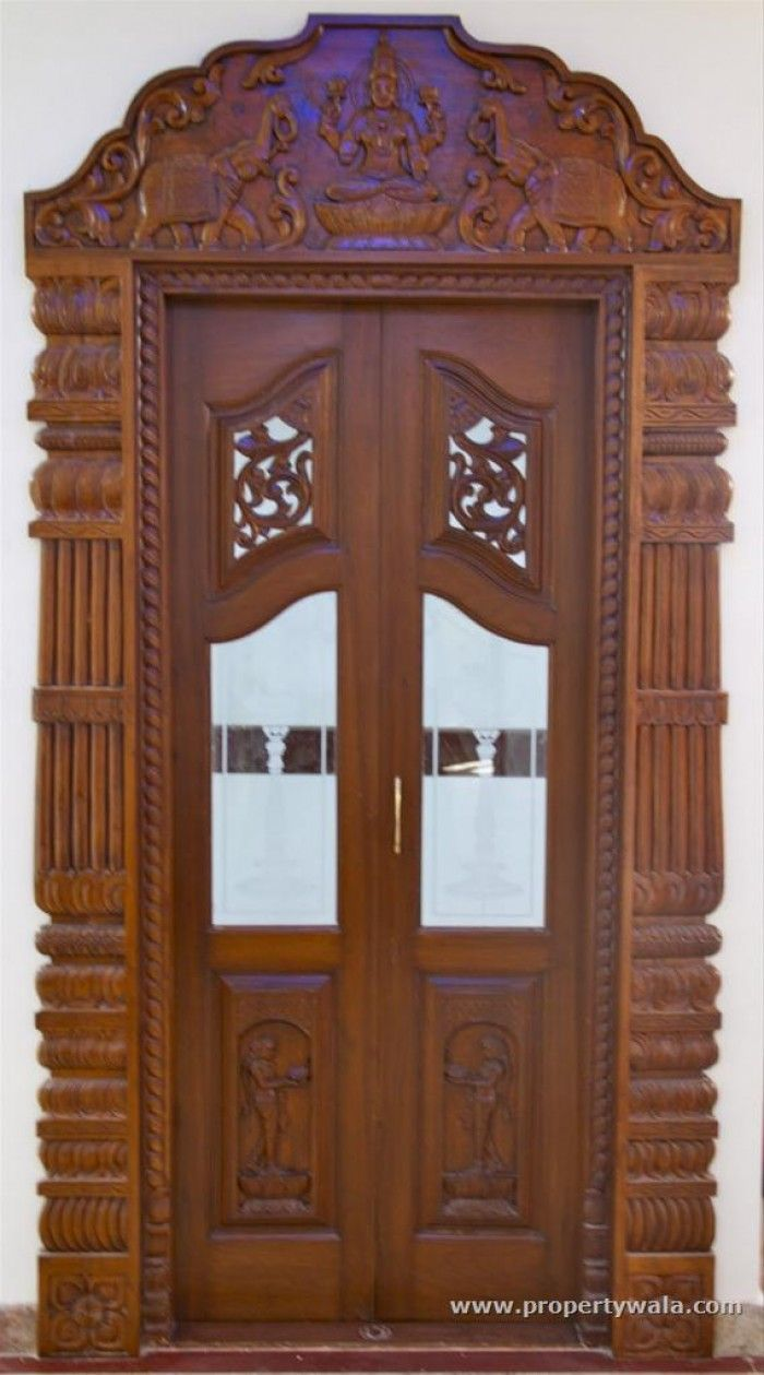 9 best pooja room doors images on pinterest bedroom - Wall mounted wooden temple design for home ...