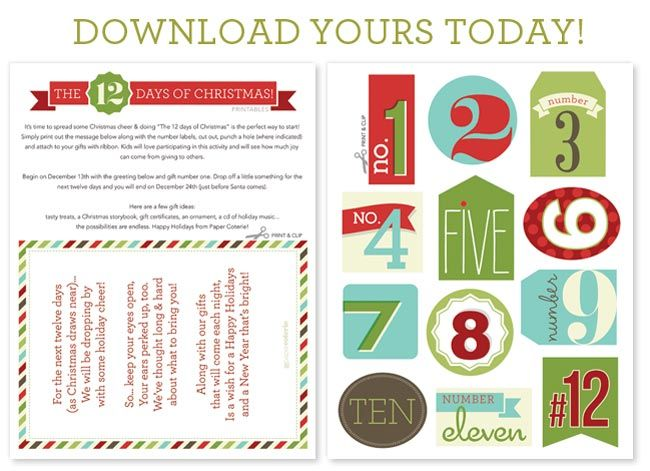 Darling 12 Days of Christmas tags- FREE Printable! from Paper Coterie on www.SomewhatSimple.com