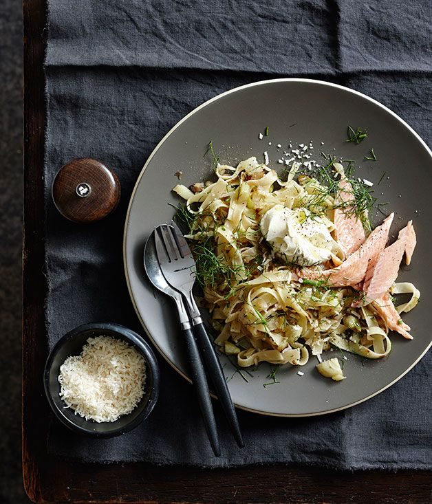 Tagliatelle with caramelised fennel, smoked trout and crème fraîche
