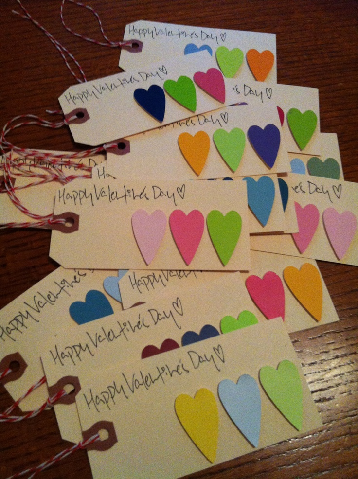 Paint swatch heart tags for valentines day