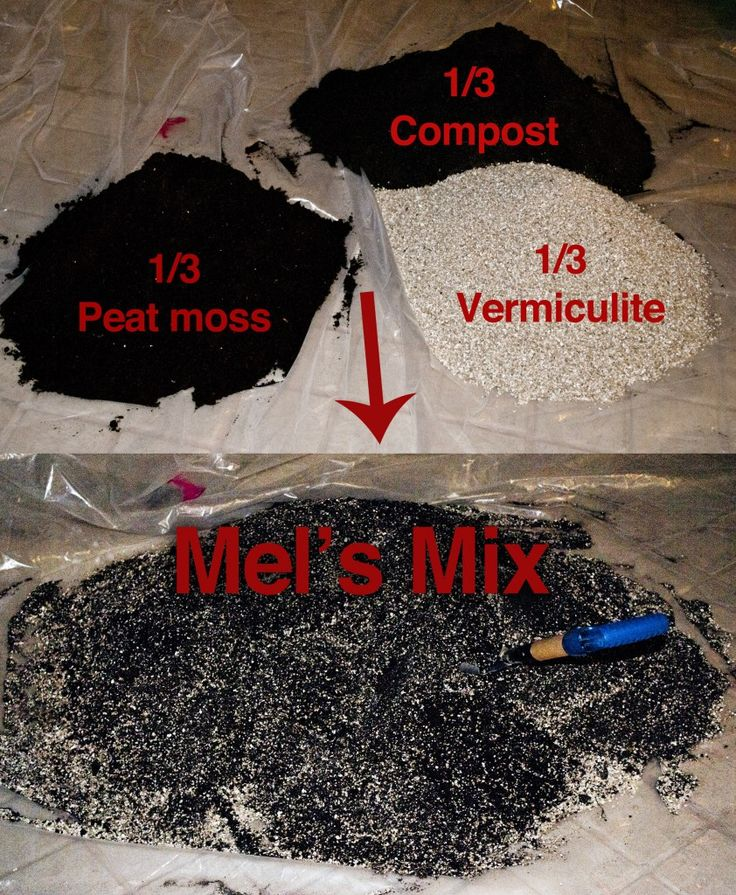 "Soil mix for raised bed gardens ""Mel's Mix"" as prescribed in his book Square Foot Gardening. Of course if you're a gardener you know this is the best mix comprising 1/3 vermiculite, 1/3 peat moss, and 1/3 compost. I've used Mel's Mix and I can attest that it is great, but it is on the pricey side though."