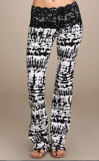 New Lace Waist Stretch Black & White Tie Dyed Jersey Knit Bohemian Yoga Stretch Bootcut Pants Leggings sz L by Theposhhanger on Etsy https://www.etsy.com/listing/233465973/new-lace-waist-stretch-black-white-tie
