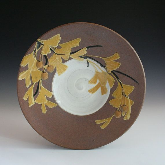 Handmade decorative/ functional stoneware plate with yellow ginkgo leaves in Craftsman style