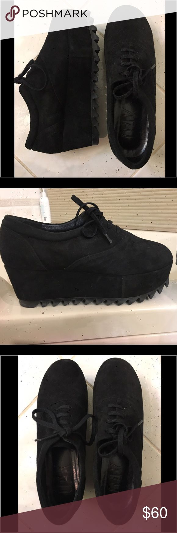 OAK NYC Black Suede Creepers US Women's 8 Dope OAK NYC black suede creepers. US Women's Size 8. They are oh, so soft! Comfy even after hours of schlepping round the city! Great Preowned Condition. No scratches/stains/discoloration on the suede. Soles are a little dirty, but I'll clean em for ya before I ship! (Side Note: ignore the black specks on my photos; those are scratches on my iPhone camera lens!) OAK NYC Shoes Platforms
