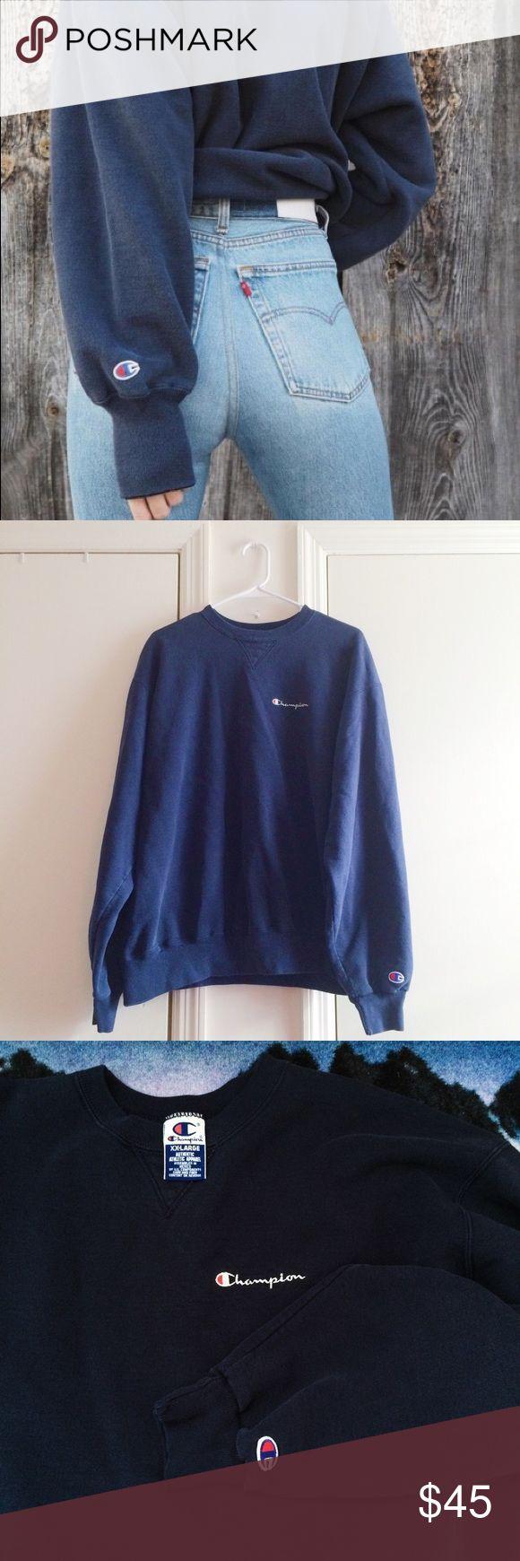 Champion Navy Blue Sweatshirt Champion Navy Blue Sweatshirt. Has Champion written on chest and small logo on arm sleeve. In new condition. Champion Tops Sweatshirts & Hoodies