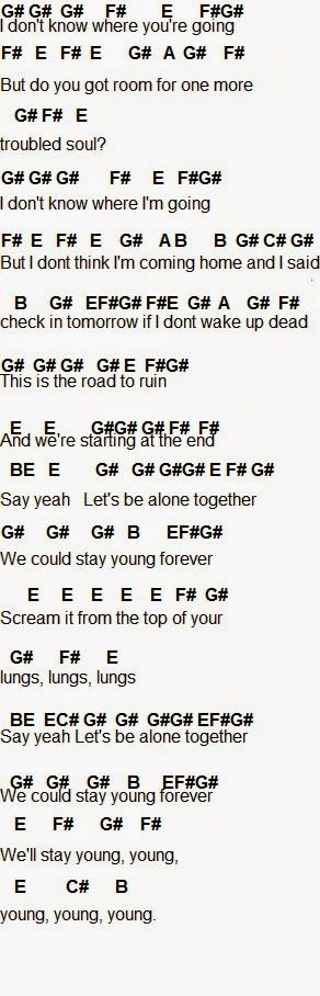 Alone Together - fall out boy this is the basic stuff audree, look up the lyrics cuz this is everything we need to know, cuz the song repeats itself alot