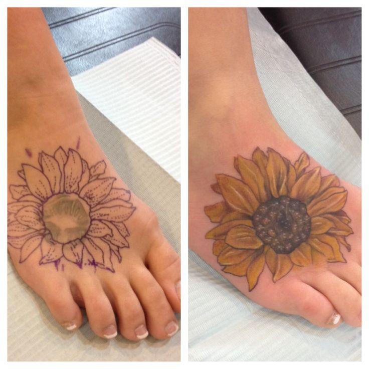 Coverup sunflower foot tattoo