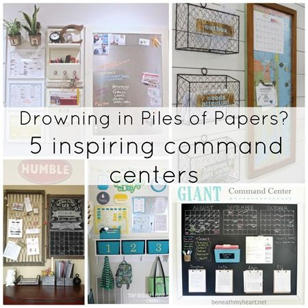 Drowning in piles of papers - check out these five inspiring family command centers. Both beautiful and functional - the perfect thing to get your family organized before school starts.