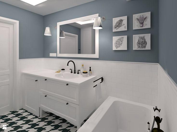 Mała łazienka w bieli i indygo - zdjęcie od CHATANOWA - Łazienka - Styl Klasyczny - CHATANOWA
