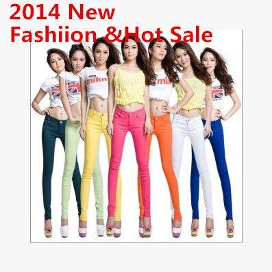 Джинсы женщин 2016 мода женские брюки весна высокой упругой конфеты цвет сексуальная карандаш брюки джинсы брюки летние джинсы роковой