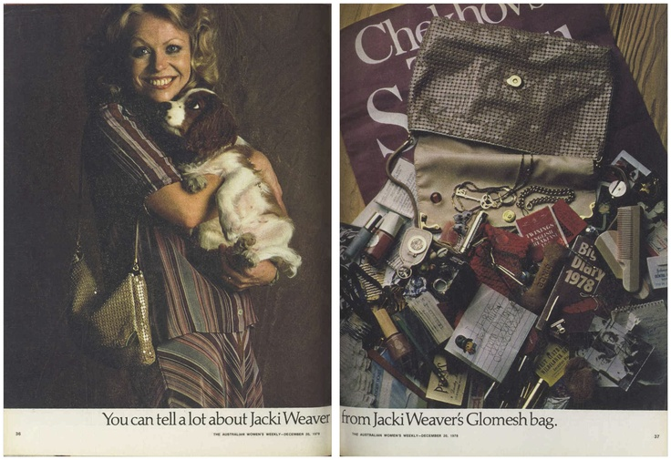 You can tell a lot about Jacki Weaver from Jacki Weaver's Glomesh bag... #JackiWeaver #Glomesh