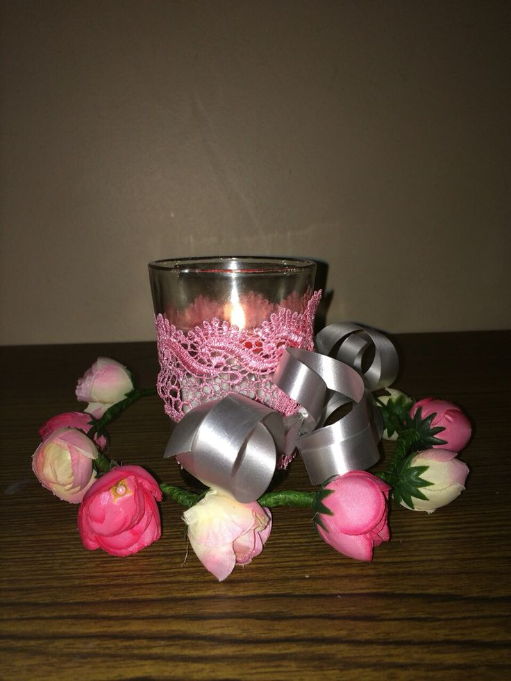 #pink #candle #wedding #tablepiece
