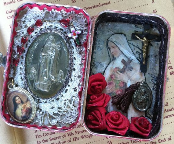 SOLD St. Therese Lisieux St. Thereresa Assemblage Shrine