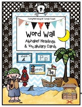 The Pirate theme word wall includes the alphabet with upper and lowercase cards and 20 pirate theme vocabulary cards.