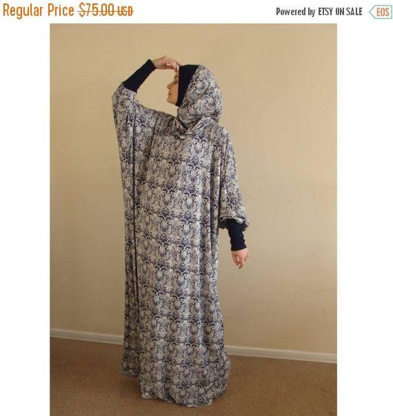 Ready to ramadan Blue and white Maxi Dress Plus Size, Prayer dress, Farasha Caftan,Boho dress, Muslim dress, abaya,Modern hijab, Burqa, Nama