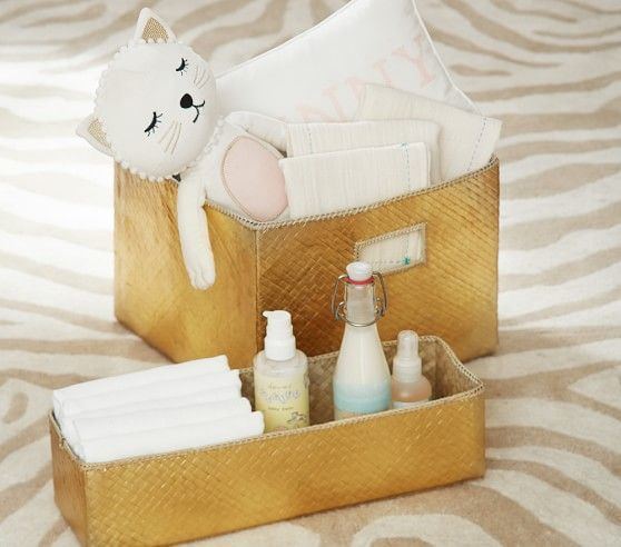 Emily & Meritt Gold Changing Table Storage | Pottery Barn Kids