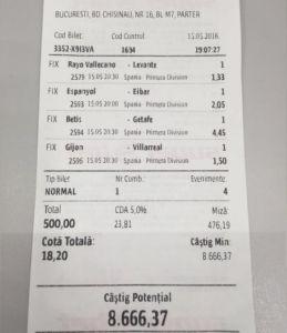 Vezi biletul de pariuri care i-a adus în acest weekend lui Adrian Copilul Minune  un câștig de peste 8,000RON!