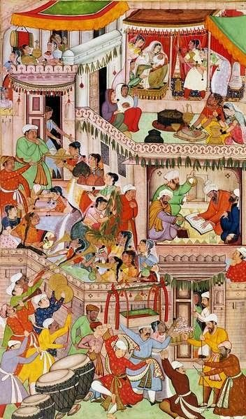 AKBAR'S HOUSEHOLD REJOICING AT THE BIRTH OF HIS SECOND SON, MURAD, AT FATEHPUR SIKRI, IN 1570, BY ANONYMOUS