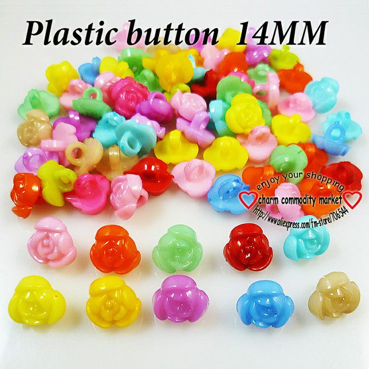 200PCS rose dsigns kids plastic buttons clothing accessory  jewelry fiting P-110 $3,73
