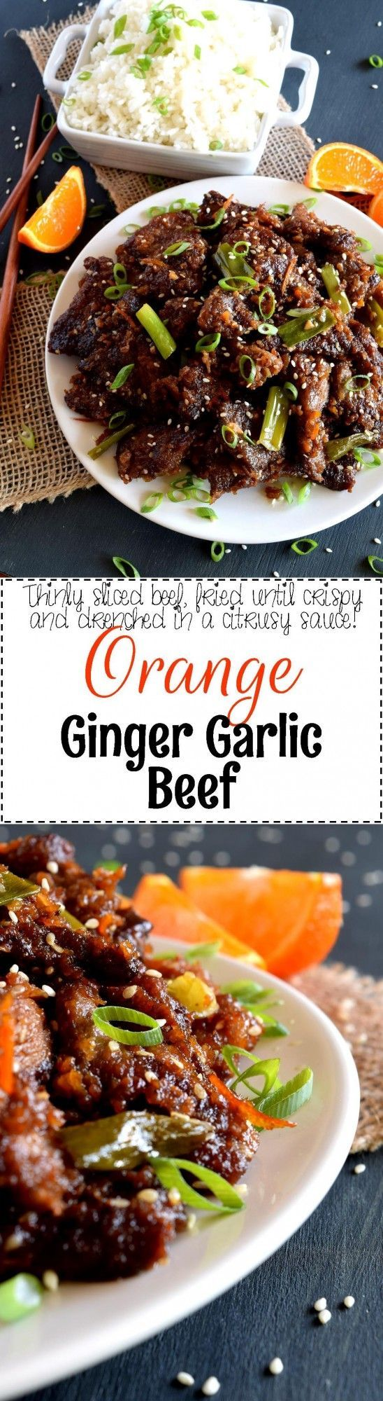 Orange Ginger Garlic Beef - Thinly sliced beef which has been lightly seared and tossed in a thick orange-based sauce.  Orange Ginger Garlic Beef is a quick take-out inspired dish which packs a punch of flavour while using just a few fresh ingredients.   #beef #orange #ginger #recipe