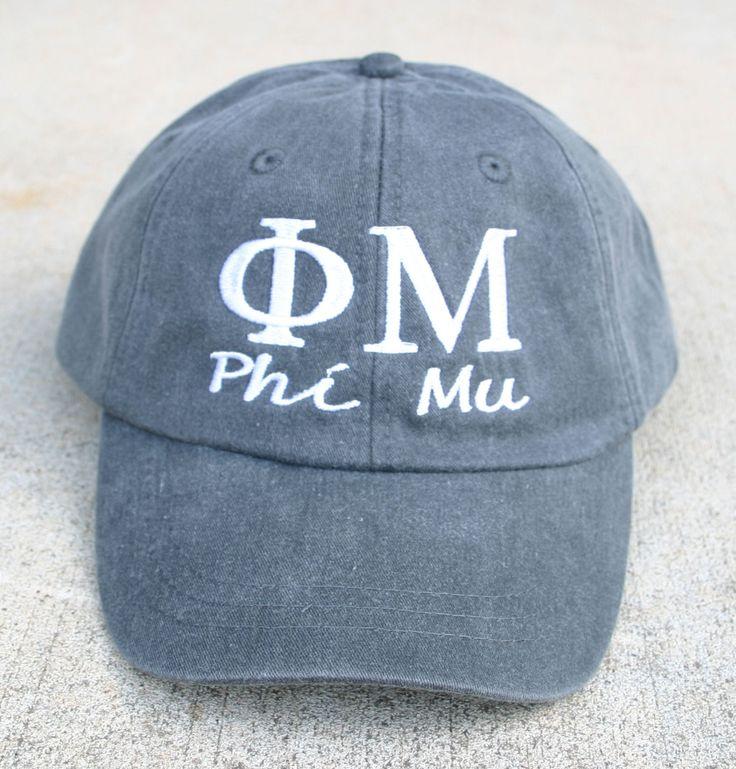 Phi Mu with script baseball cap by MegaGreek on Etsy