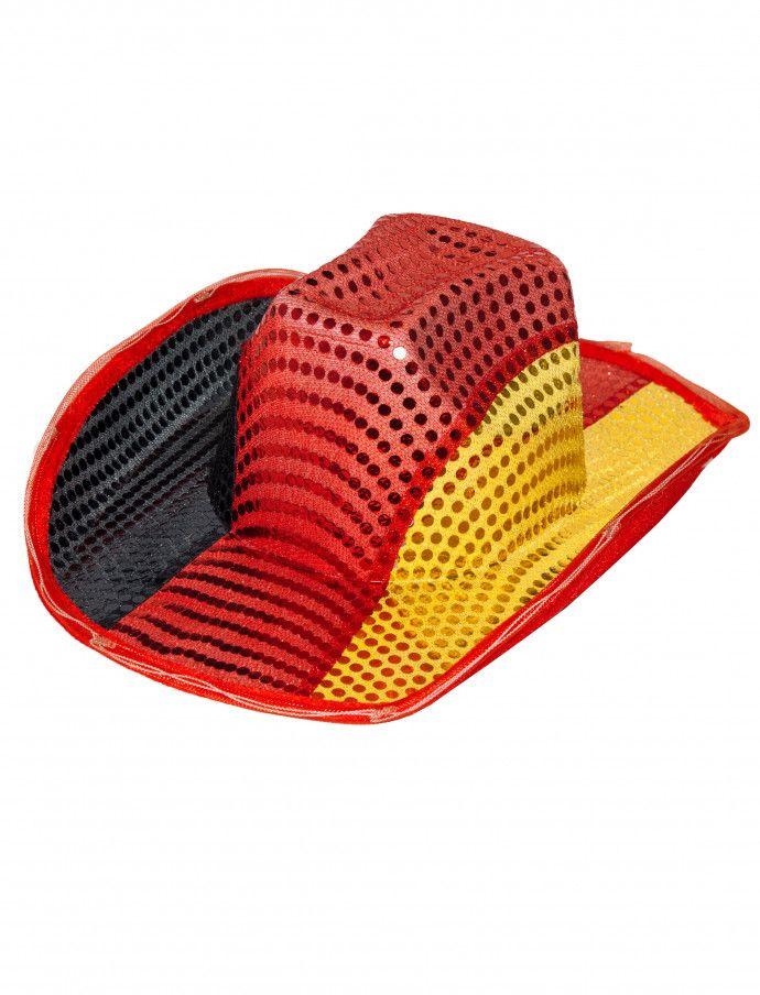 Cowboyhut Deutschland mit LED | Deiters | Hut | Kostüm | Karneval | Fasching | Outfit | LED | Licht | Pailletten | Accessoires