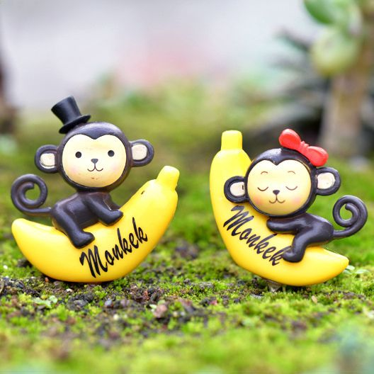 4 pieces a set Cake decorating ornaments couple monkey banana monkey birthday cake cake decorating decorative accessories