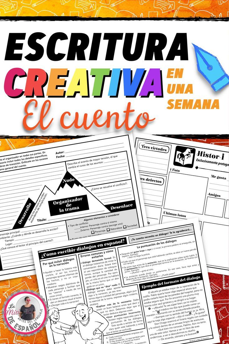 Help Middle School Spanish Students Develop Strong Characters Descriptions Meaningful Dialogue A Spanish Writing Narrative Writing Spanish Teacher Resources [ 1103 x 735 Pixel ]