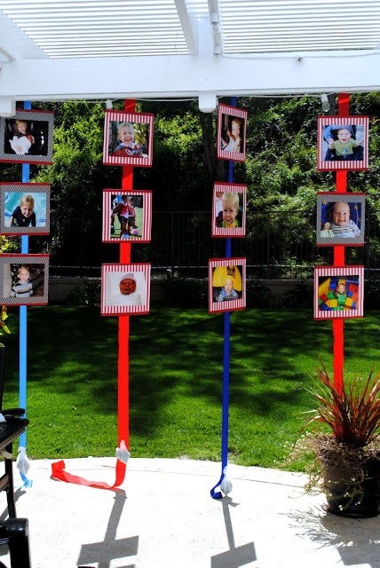 Photo Banners: makes a great party backdrop..Birthday.   This would be great for my son when he gets his black belt. Pictures of him hanging on different colors for each belt