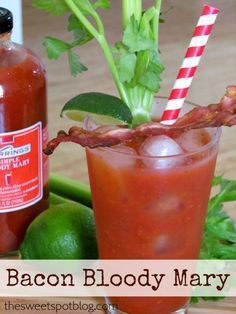 BACON Bloody Mary by The Sweet Spot Blog http://thesweetspotblog.com/bacon-bloody-mary/ #recipes #cocktails #bacon #bloodymary #vodka #bartender