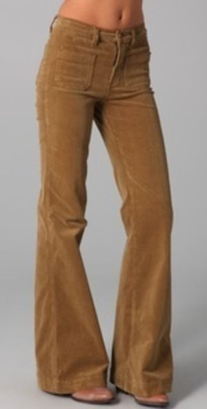 """corduroy bell bottoms! i wore gold ones like these but mine were lower """"hipsters""""and belonged to my boyfriend (my current (and only) husband of 44 years)... kp."""