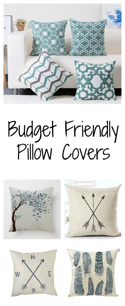 If you have old throw pillows lying around, use budget friendly pillow covers to give them new life.