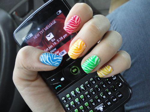 Neon Zebra Skittles by Mandie's Manicures: Nails 3 3, Cute Nails, Mandiesmanicures, Colorful Nails, Gum Nails, Frank Nails, Nail Polish Nails, Hair Nails Etc, Fab Nails