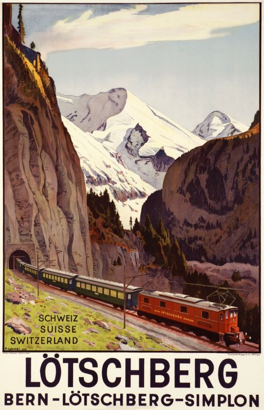 "Lötschberg - Bern - Simplon, Schweiz Suisse Switzerland by Colombi Plinio / 1937. The ""Lötschberg and Simplon"" are two tunnels crossing the Alps from Switzerland to Italy. This engine is a Ce6/8, the most powefull of the time. A classic Swiss travel poster in a Ferdinand Hodler style, finely printed in stone-lithography."