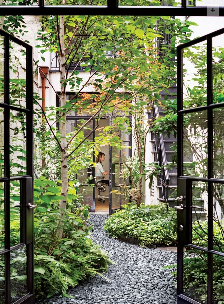 Interior Courtyards: This image is from a lovely blog post on lookslikewhite about the beauty and delight of interior courtyards. Having an open-to-the-sky center of the home is a beneficial feature of Vastu. I plan something like this for my own house! Sherri Silverman, author of Vastu: Transcendental Home Design in Harmony with Nature. http://transcendencedesign.com/vastu/